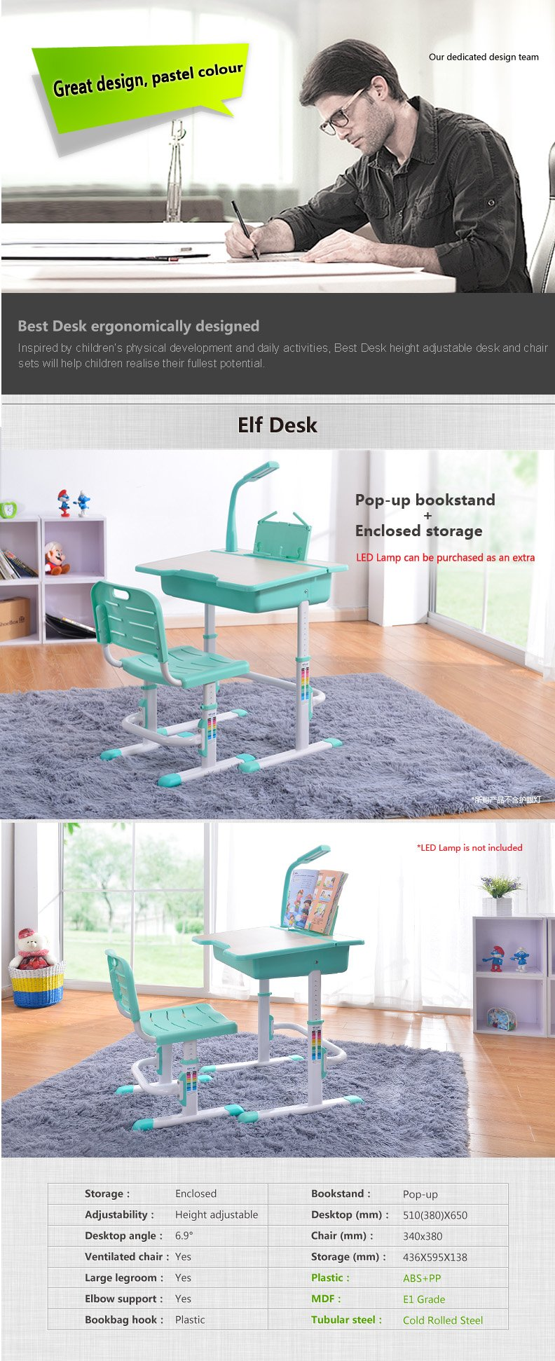 Best Desk kids adjustable desk chair Elf description 1