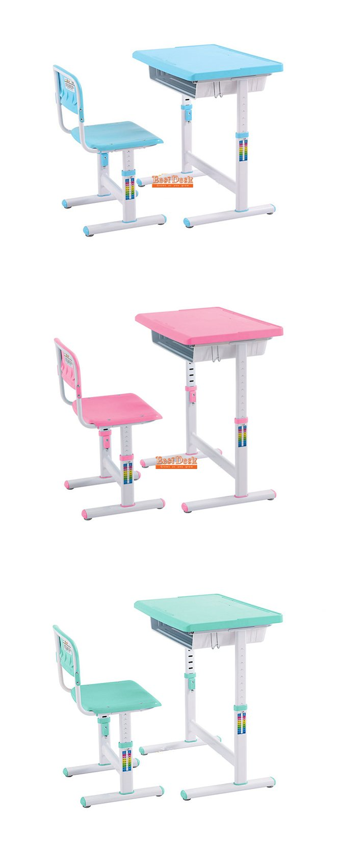 Best Desk height adjustable kids desk chair Mini range has tilt desktop and bright colours in pink green and blue