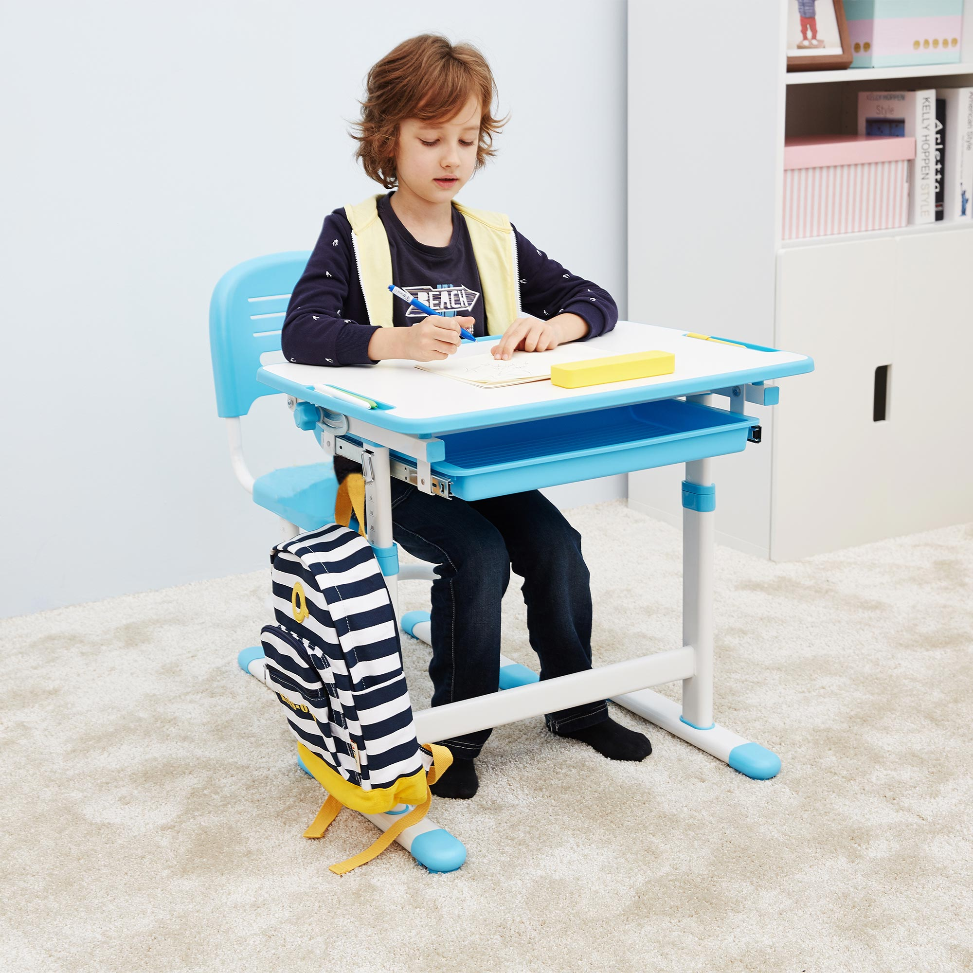 Height-Adjustable-Kids-Blue-Desk-Chair-Ergonomic-Children-Table-no-cupholder-09