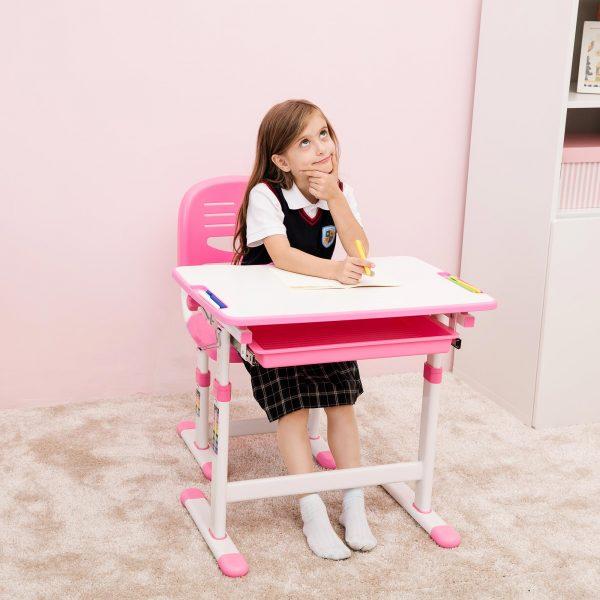 Girl Table Part - 18: ... Pink-Desk-for-Girls-Ergonomic-Kids-Desk-Height- ...